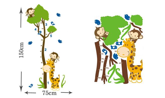 $59 韩国可爱动物造型diy壁贴儿童身高尺,3种款式,居家美化,可贴在不
